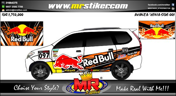 stiker-mobil-avanza-xenia-redbull-racing