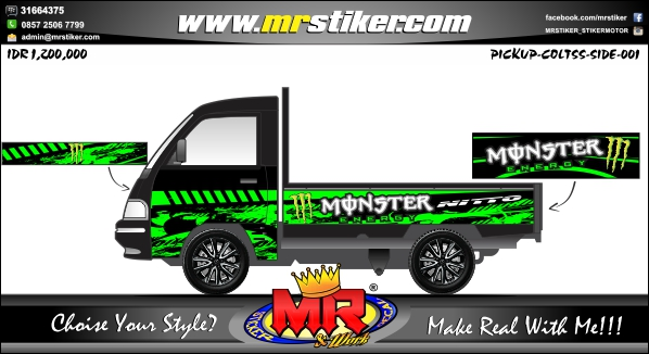 stiker-mobil-pick-up-green-monster
