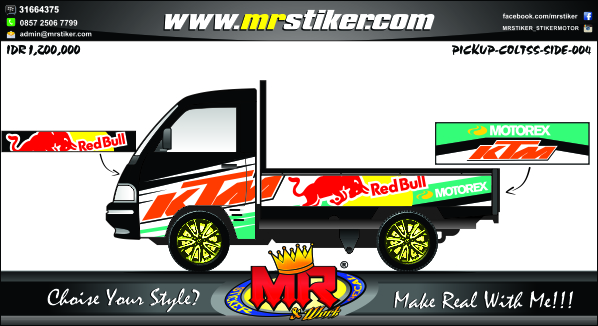 stiker-mobil-pick-up-ktm-redbull