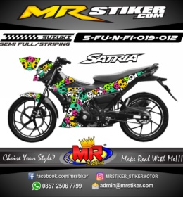 Stiker motor decal Satria F New FI Skull Emoticon