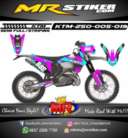 Stiker motor decal KTM 250 purple blue neon