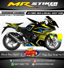 Stiker motor decal CBR150 Lokal Flame Blue