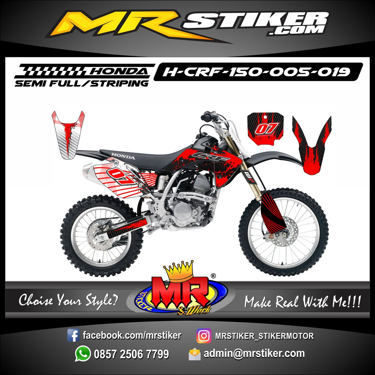 Stiker motor decal CRF 150 Red Carbon