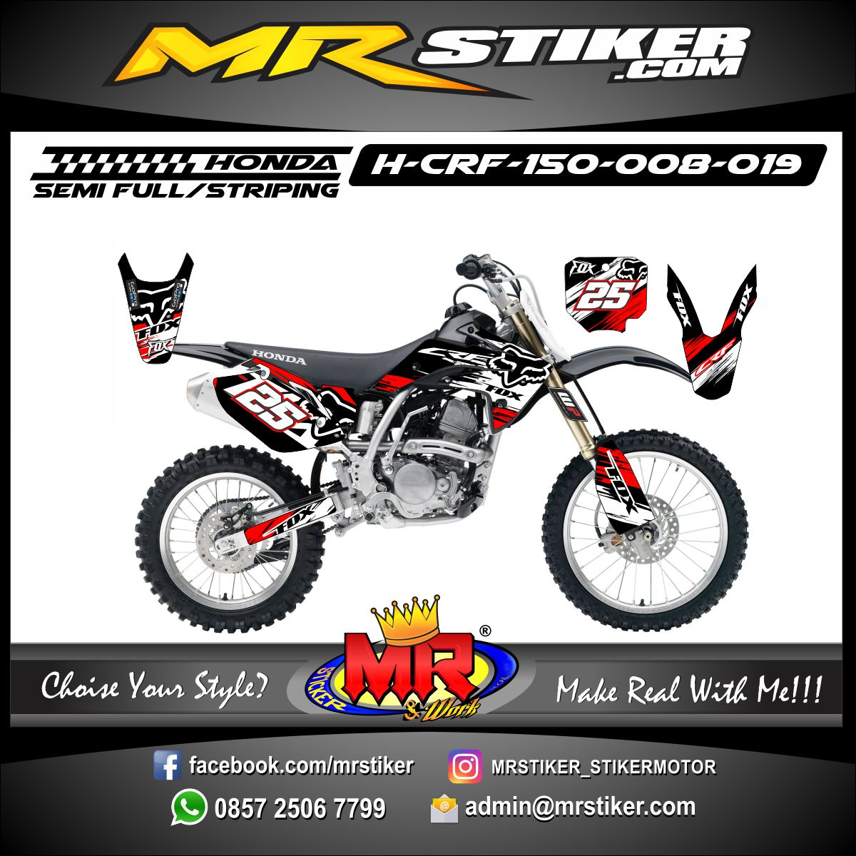 Stiker motor decal CRF 150 Splat Fox