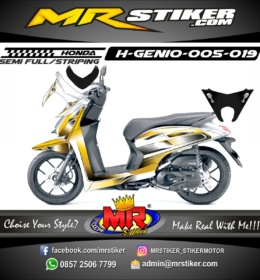 Stiker motor decal Genio Gold Gradation carbon