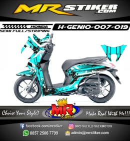 Stiker motor decal Genio Blue ice abstrak target