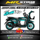Stiker motor decal Scoopy Line Ice Blue color