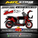 Stiker motor decal Scoopy Red Race Simple Line