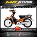 Stiker motor decal Supra X Orange Race start