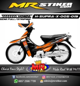 Stiker motor decal Supra X Orange Race start