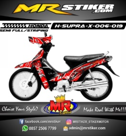Stiker motor decal Supra X Red Grafis Abstrak