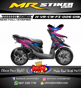 Stiker motor decal Vario CW FI strip neon blue color