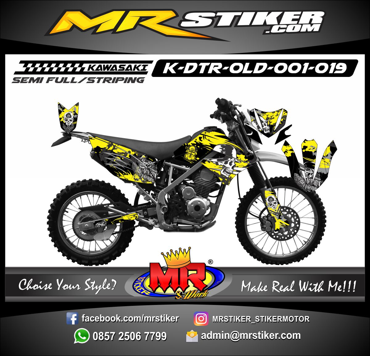 Stiker motor decal D-TRACKER Old Metal Milusha