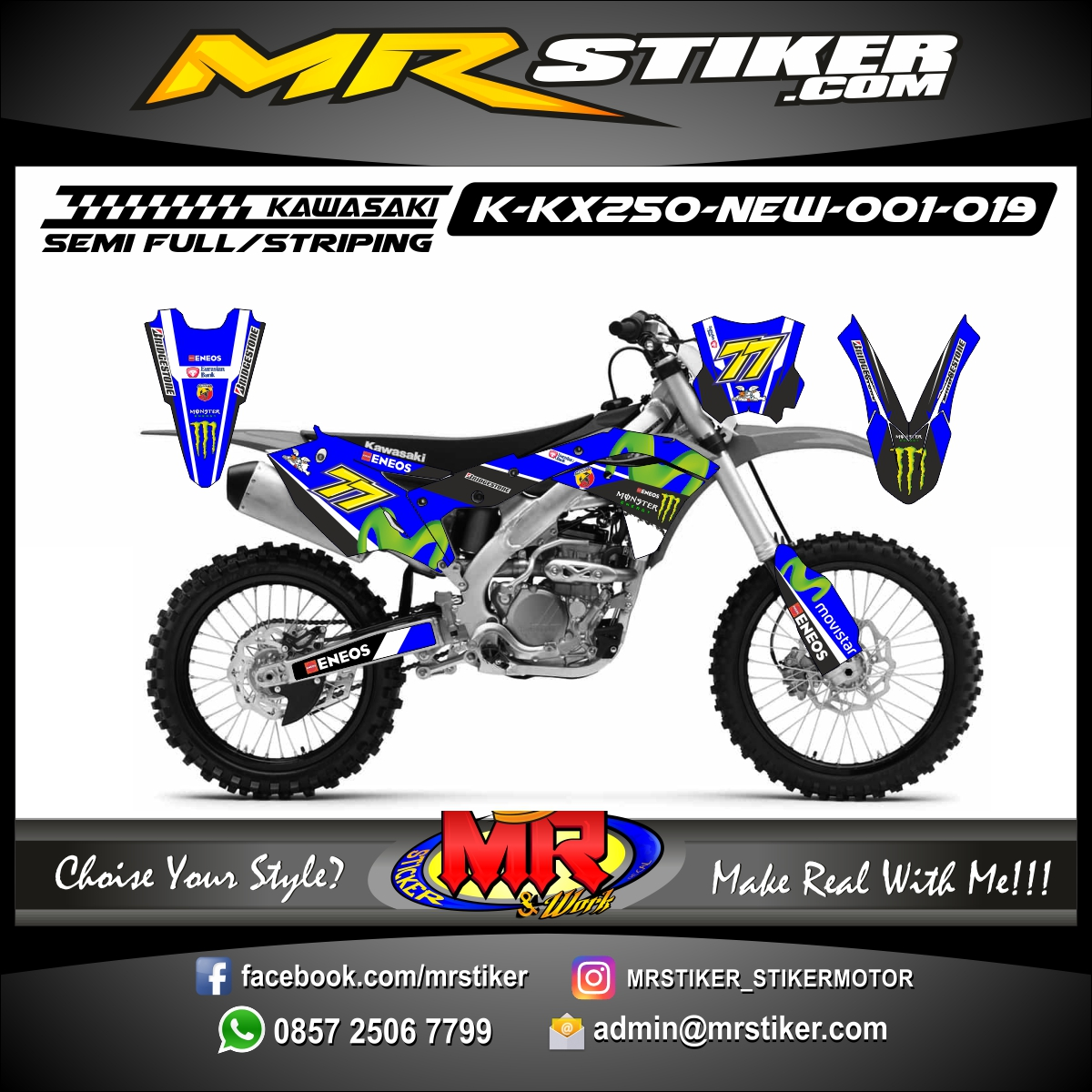 Stiker motor decal KX 250 New Blue Movistar