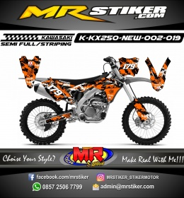Stiker motor decal KX 250 New Spray Brush orange