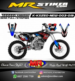 Stiker motor decal KX 250 New Fox Red Blue