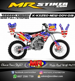 Stiker motor decal KX 250 New Amerika Flags