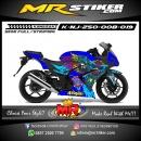 Stiker motor decal Ninja 250 Blue Owl Bird Mage