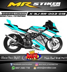 Stiker motor decal Ninja RR Blue Gray combine