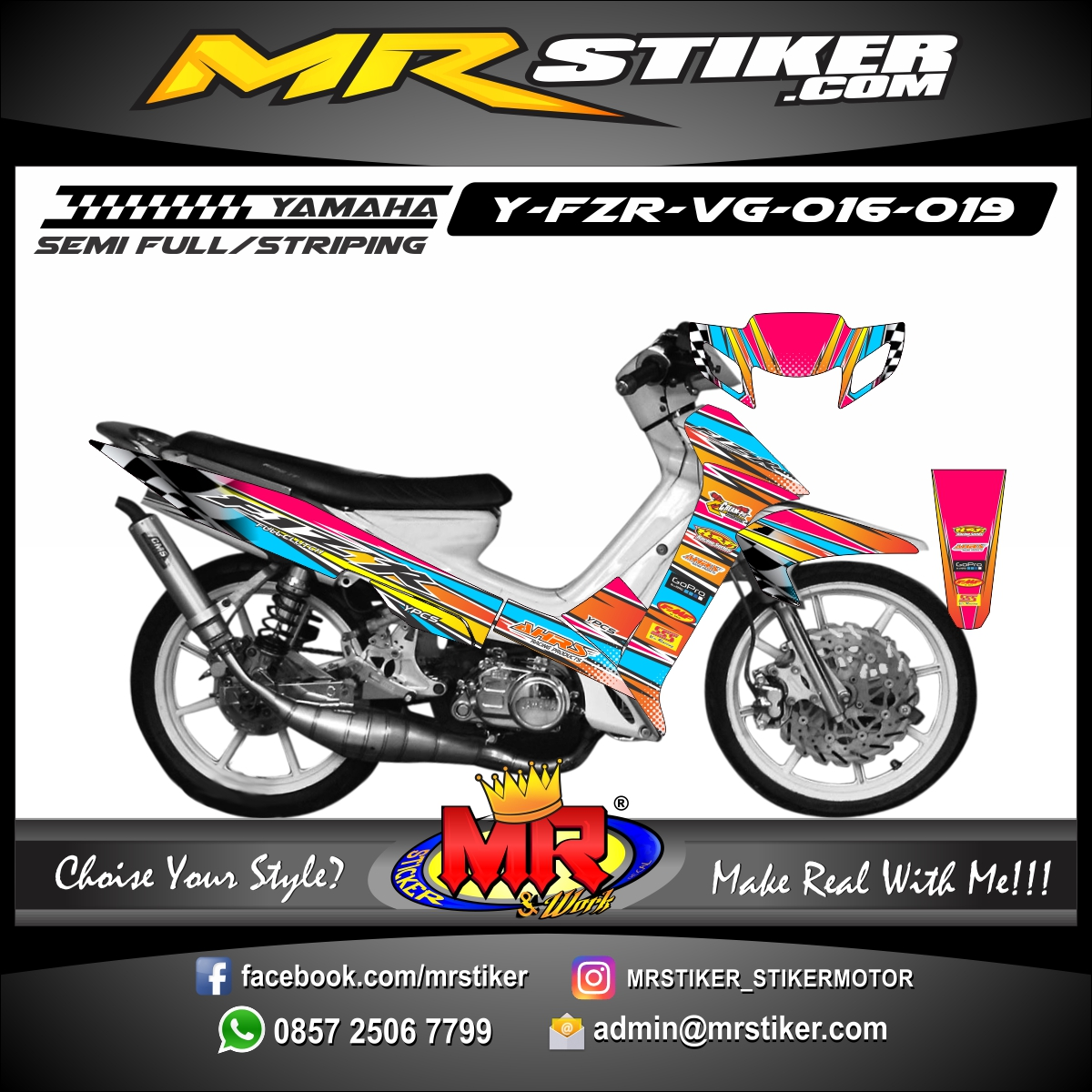 Stiker motor decal FIZ R Racing Team Race 1