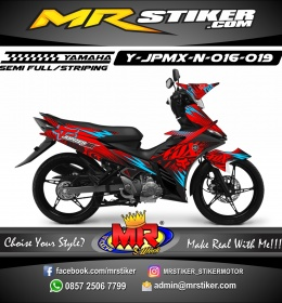 Stiker motor decal Jupiter MX New Red Blue Neon