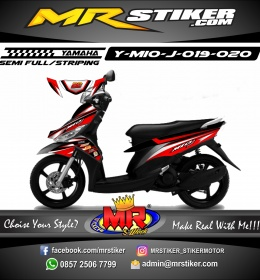 Stiker motor decal Mio J Red Graphic Race