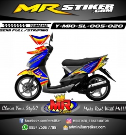 Stiker motor decal Mio Soul Blue Tech Race