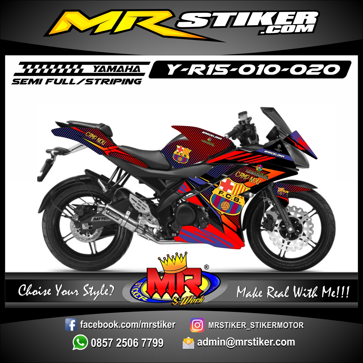 Stiker motor decal R15 Barcelona Team