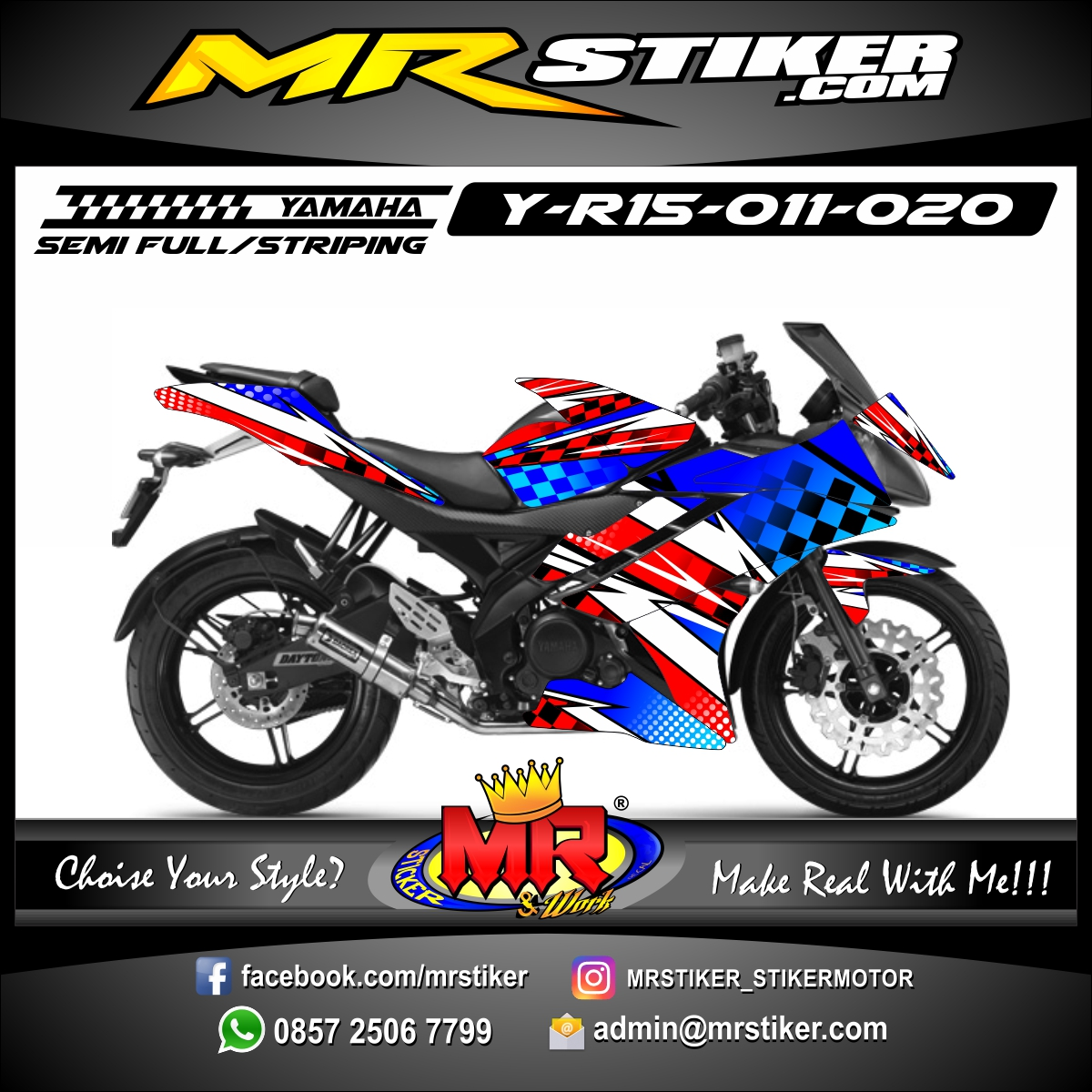 Stiker motor decal R15 Blue Flag Race