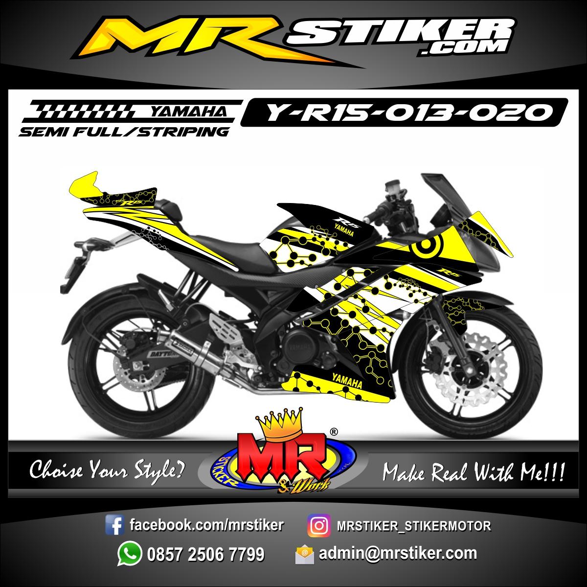Stiker motor decal R15 Yellow molecule Grafis