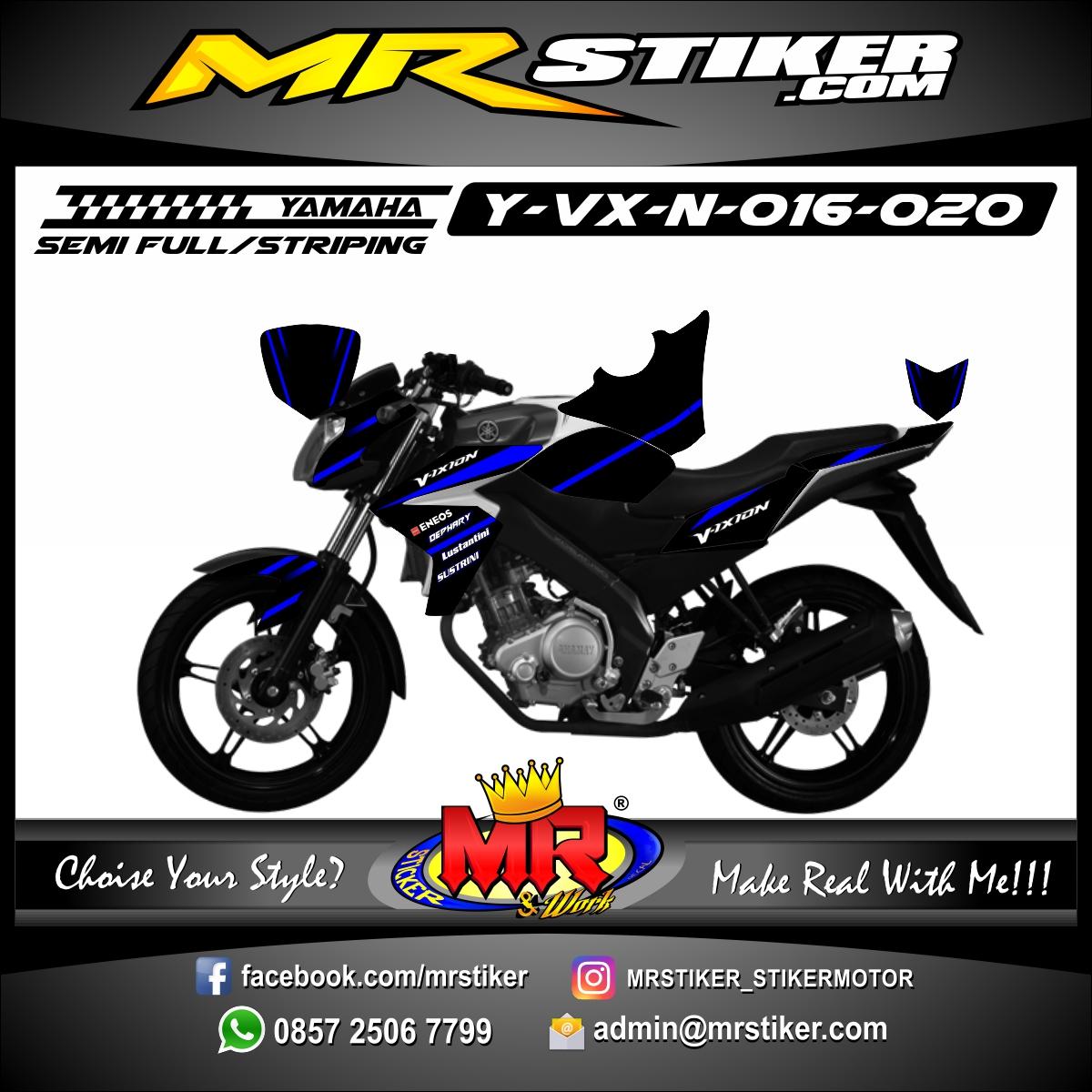 Stiker motor decal Vixion New Dark Strip Blue