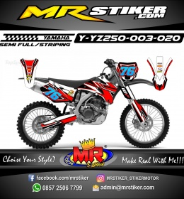 Stiker motor decal YZ 250 Red Techno Style Race