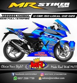 Stiker motor decal Honda CBR 150 Lokal Fox Blue Glossy Gradation