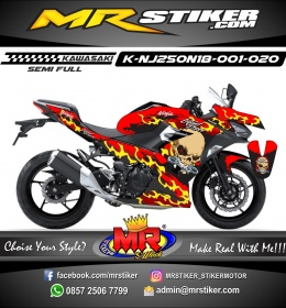 Stiker motor decal Kawasaki Ninja 2018 All New Flame Skull Gangster