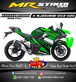 Stiker motor decal Kawasaki Ninja 2018 All New Striping Checkered Green Color