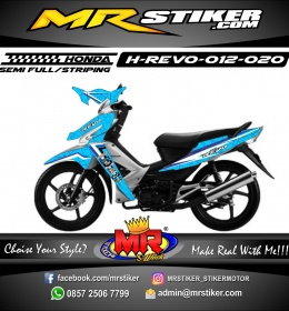 Stiker motor decal Honda Revo Square Blue