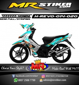 Stiker motor decal Honda Revo Fox Grfafis Blue Neon