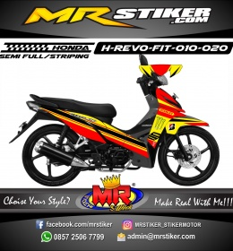 Stiker motor decal Honda Revo Fit Red Yellow Line