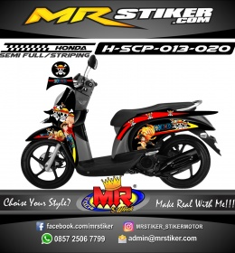 Stiker motor decal Honda Scoopy Red Strip One Peace