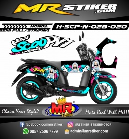 Stiker motor decal Honda Scoopy New hijab girl Splater