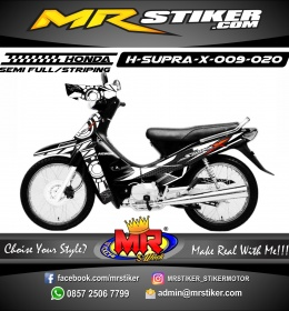Stiker motor decal Honda Supra X Black White SunMoon