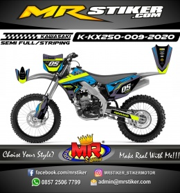 Stiker motor decal KX 250 Blue Crack Line Stabillo