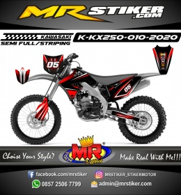 Stiker motor decal KX 250 Dark Red Gradation