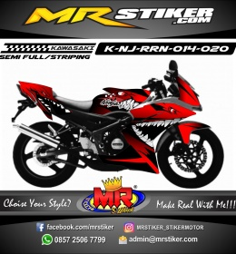 Stiker motor decal Kawasaki Ninja RR New Red Dark Shark Angry