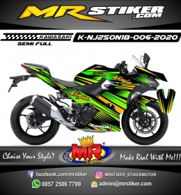 Stiker motor decal Kawasaki Ninja 2018 All New Line Green Split Gold