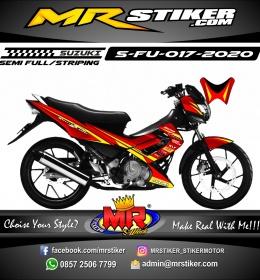 Stiker motor decal Suzuki Satria FU Red Simple Strip Yellow Grafis