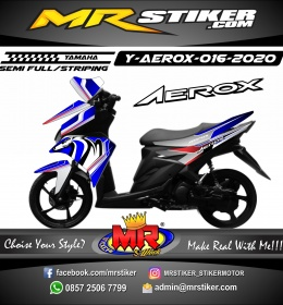 Stiker motor decal Yamaha Aerox Blue Silver Grafis