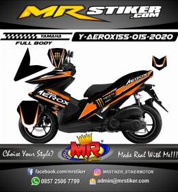 Stiker motor decal Yamaha Aerox 155 Orange Monster Energy (FULLBODY)