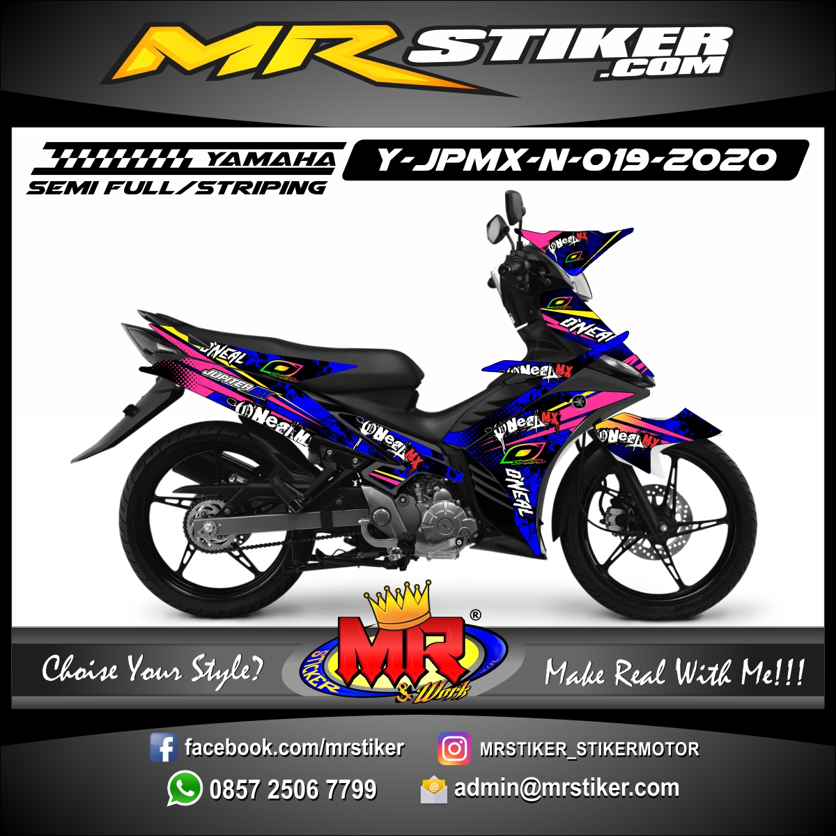 Stiker motor decal Yamaha Jupiter MX New Oneal Splat Brush