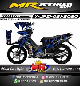 Stiker motor decal Yamaha Jupiter Z1 Blue Abstrak Triple X